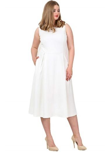 Angelino Butik Büyük Beden Cepli Elbise KL777 Beyaz